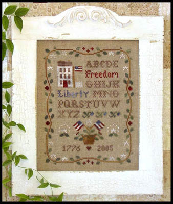 Little House Needleworks - Americana Sampling - Exclusive Release-Little House Needleworks - Americana Sampling - Exclusive Release, historic, sampler, 1776, flowers,