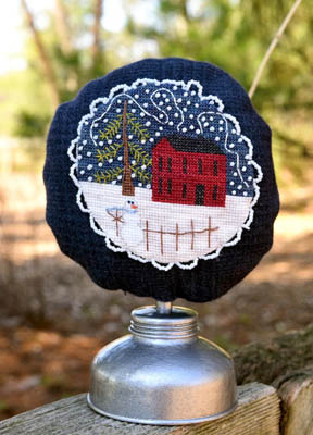 Myrtle Grace Motifs - One Winters Night-Myrtle Grace Motifs - One Winters Night, red barn, snowy, dark night, house,