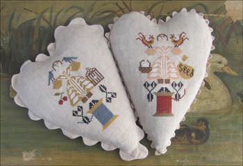 Kathy Barrick - Stitching Girls-Kathy Barrick - Stitching Girls, hearts, pin cushions, sewing, spools of thread, primitive, cross stitch