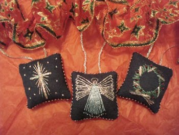 Freda's Fancy Stitching - Tiny Christmas Pillows-Fredas Fancy Stitching - Tiny Christmas Pillows, Christmas, ornaments, angel, star, wreath, Christmas decorating,