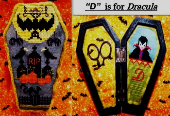 The Stitching Parlor - D is for Dracula-The Stitching Parlor - D is for Dracula, Halloween, coffin, scissor keep, cross stitch,