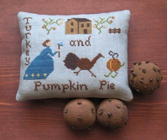 Primitive Needleworks - Turkey And Pumpkin Pie-Primitive Needleworks - Turkey And Pumpkin Pie. Thanksgiving, dinner, fall,