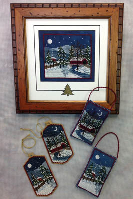 Foxwood Crossings - Harrisburg Winter-Foxwood Crossings - Harrisburg Winter, snowy, nighttime, covered bridge, cross stitch