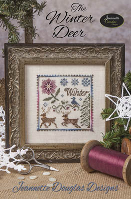 Jeannette Douglas Designs - The Winter Deer-Jeannette Douglas Designs - The Winter Deer, snowflakes, deer, flowers, wintery, cross stitch