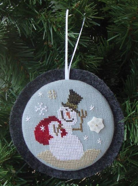 Bent Creek - Holiday Hang-ups - A Gift for You Kit-Bent Creek - Holiday Hang-Ups - A Gift for You Kit, snowman, Christmas ornament, cross stitch