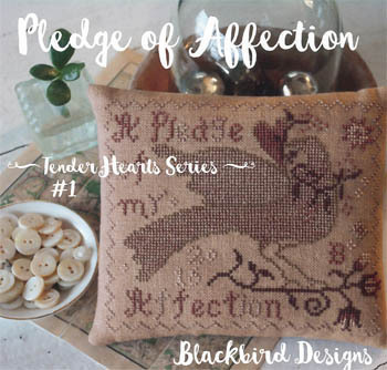 Blackbird Designs - Tender Hearts Series - #1 - Pledge of Affection-Blackbird Designs, Tender Hearts Series, Pledge of Affection, love bird, heart, love, marriage, cross stitch