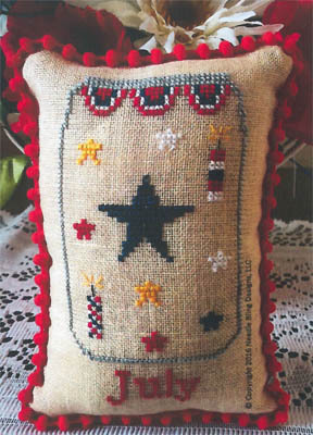 Needle Bling Designs - What's in Your Jar - Part 07 - July-Needle Bling Designs - Whats in Your Jar - July, mason jar, 4th of July, american flag, usa, cross stitch