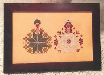 AuryTM - George and Florence-AuryTM - George and Florence, gobble, Thanksgiving, cross stitch
