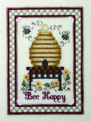 The Bee Cottage - Bee Happy-The Bee Cottage - Bee Happy, bees, bee hive, flowers. cross stitch