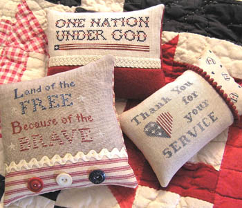 The Nebby Needle - My Country Tis of Three-The Nebby Needle - My Country Tis of Three, America, USA, patriotic, pin cushions, serice, military, Armed Forces, cross stitch