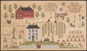 The Scarlett House - Heartland Sampler-The Scarlett House - Heartland Sampler, Houses, farm, willow tree, sampler, cross stitch