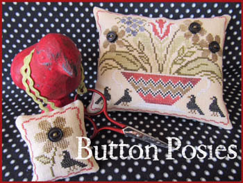 The Scarlett House - Button Posies-The Scarlett House - Button Posies, crow, buttons, flowers, cross stitch