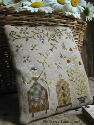 Pineberry Lane - Mrs. Maguire - Bee Charmer-Pineberry Lane - Mrs. Maguire - Bee Charmer, bees, beehive, garden, daisies, flowers, primitive, country, folk art, cross stitch