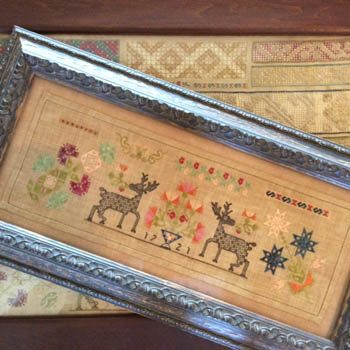 Samplers Remembered - Checkerboard Stag Sampler-Samplers Remembered - Checkerboard Stag Sampler, reindeer, MexicanSpanish Colonial sampler, cross stitch, historic,