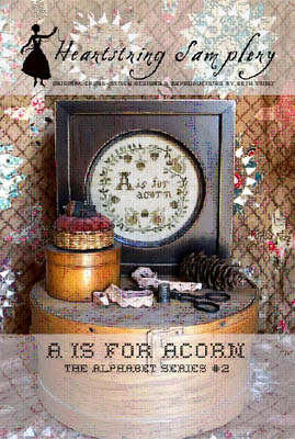 Heartstring Samplery - Alphabet Series - A is for Acorn-Heartstring Samplery - Alphabet Series - A is for Acorn, acorns, fall, nuts, squirrels, gathering food, wreathe, cross stitch