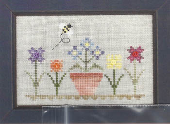 Annalee Waite Designs - Flower & Bee w/buttons-Annalee Waite Designs - Flower  Bee wbuttons, flowers, buttons, cross stitch