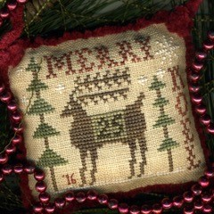 Homespun Elegance - 2016 Sampler Ornament - Merry Derry-Homespun Elegance - 2016 Sampler Ornament - Merry Derry, reindeer, Christmas, ornament, cross stitch