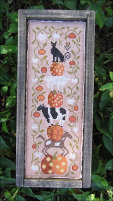 Kathy Barrick - Halloween On The Farm-Kathy Barrick - Halloween On The Farm, animal stack, cow, pigs, cat, pumpkins, cross stitch, fall,
