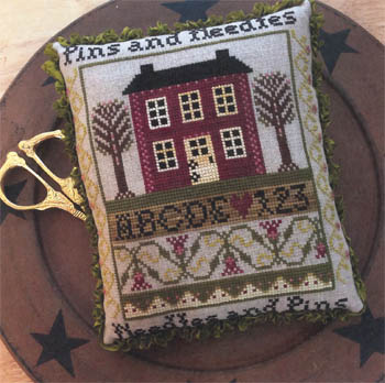 Annie Beez Folk Art - Pins and Needles Sampler Pinkeep-Annie Beez Folk Art - Pins and Needles Sampler Pinkeep, primitive, country, pins, stitching, crafts, trim,