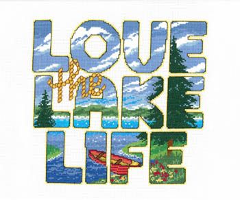Imaginating - Love the Lake Life-Imaginating - Love the Lake Life, water, swimming, vacation, boating, summer, cross stitch