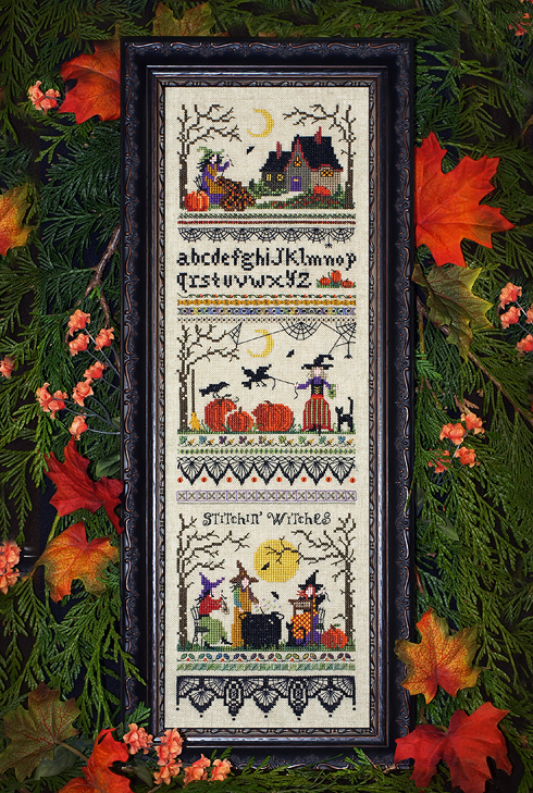 Victoria Sampler - Stitchin' Witches-Victoria Sampler - Stitchin Witches, Halloween, witches sewing, bats, haunted house, black cats, trick or treat, pumpkins, spiders, cross stitch,