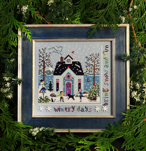 Victoria Sampler - Winter Cottage-Victoria Sampler - Winter Cottage, snow, playing, children, winter fun, cross stitch