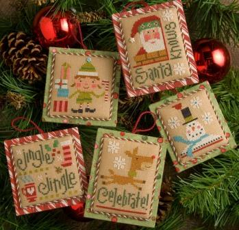 Lizzie Kate - Tiny Tidings XIX -Lizzie Kate, Tiny Tidings XIX, Christmas ornaments, reindeer, snowman, Santa's Elves, Santa Claus,  Cross Stitch Patterns