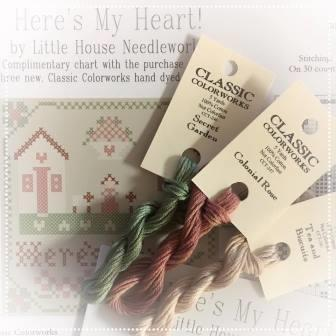 Little House Needleworks - Here's My Heart Chart Pack-Little House Needleworks - Heres My Heart Chart Pack, Classic Colorworks threads, home, love, floss, cross stitch, free chart