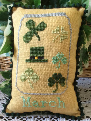 Needle Bling Designs - What's in Your Jar - Part 03 - March-Needle Bling Designs, Whats in Your Jar, Part 03, March, shamrocks, four leaf clover, leprechaun, spring, cross stitch