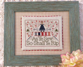 Annie Beez Folk Art - The Frog Motto-Annie Beez Folk Art - The Frog Motto, sewing, ripping stitches, cross stitch