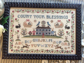 Annie Beez Folk Art - Count Your Blessings-Annie Beez Folk Art - Count Your Blessings, samplers, alphabets, rabbits,