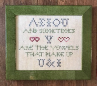 Lucy Beam Love in Stitches - U & I-Lucy Beam Love in Stitches - U  I, vowels, together, love, friendship, cross stitch