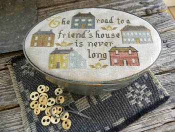 Threadwork Primitives - The Road-Threadwork Primitives - The Road, the road to a friends house is never long, cross stitch, houses, BFF,