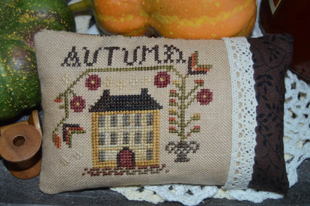 Abby Rose Designs - An Autumn Pin Pillow-Abby Rose Designs - An Autumn Pin Pillow , fall, leaves, weather, cross stitch