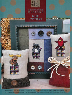 Amy Bruecken Designs - Quilt Critters-Amy Bruecken Designs - Quilt Critters, moose, raccoon, cardinal, quilts, cross stitch