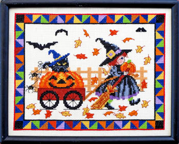 Bobbie G. Designs - Pumpkin Parade-Bobbie G. Designs - Pumpkin Parade, Halloween, Fall, kitty, pumpkins, bats, child, cross stitch