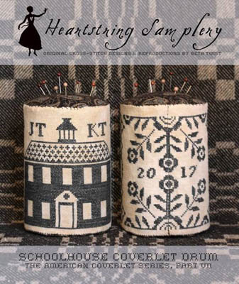 Heartstring Samplery - American Coverlet Series Part VII - Schoolhouse Coverlet Drum-Heartstring Samplery - American Coverlet Series Part VII - Schoolhouse Coverlet Drum
