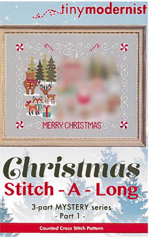 Tiny Modernist - Christmas Stitch A Long - Part 1-Tiny Modernist - Christmas Stitch A Long - Part 1, forest, deer, bear, gifts, winter, cross stitch