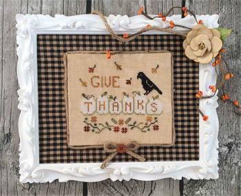 Annie Beez Folk Art - Thankful Pumpkins-Annie Beez Folk Art - Thankful Pumpkins, fall, Thanksgiving, crow, pumpkins, cross stitch