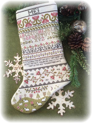 Annie Beez Folk Art - Band Sampler Stocking-Annie Beez Folk Art - Band Sampler Stocking, Christmas stocking, sheep,