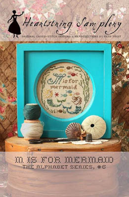Heartstring Samplery - Alphabet Series - M is for Mermaid-Heartstring Samplery - Alphabet Series - M is for Mermaid, ocean, fish, seaweed, beach, cross stitch