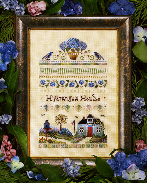 Victoria Sampler - Hydrangea House Sampler-Victoria Sampler - Hydrangea House Sampler, flowers, home, garden, spring, purple flowers, blue flowers, cross stitch