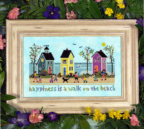 Victoria Sampler - Ocean Boulevard-Victoria Sampler - Ocean Boulevard, beach, cottages, ocean, houses, sunshine, cross stitch