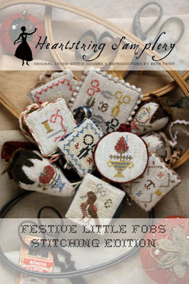 Heartstring Samplery - Festive Little Fobs - Stitching Edition-Heartstring Samplery - Festive Little Fobs - Stitching Edition, cross stitch, needle, scissors,