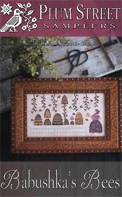 Plum Street Samplers - Babushka's Bees-Plum Street Samplers - Babushkas Bees, bee hives, bee keeper, flowers, bees. cross stitch