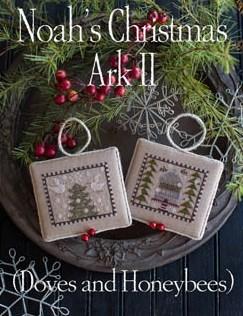 Plum Street Samplers - Noah's Christmas Ark II-Plum Street Samplers - Noahs Christmas Ark II, doves, bees, ornaments,