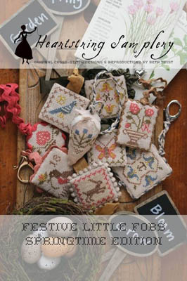 Heartstring Samplery - Festive Little Fobs - Springtime Edition-Heartstring Samplery - Festive Little Fobs - Springtime Edition, birds, flowers, bunnies, cross stitch