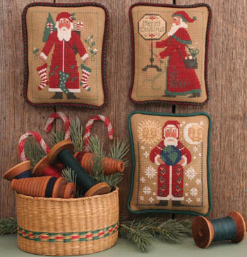 Prairie Schooler - Santas Revisited VI (1995, 2003, 2004)-Prairie Schooler - Santas Revisited VI 1995, 2003, 2004, Santa Claus, Christmas, ornaments, pillows, cross stitch
