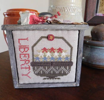 Shakespeare's Peddler - Basket Of Red, White And Blue-Shakespeares Peddler - Basket Of Red, White And Blue, USA, patriotic, flowers, liberty, cross stitch