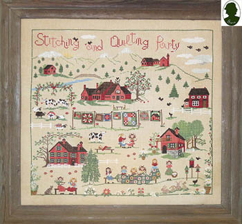 Sara - Stitching And Quilting Party-Sara - Stitching And Quilting Party, sampler, farm, countryside, cross stitch